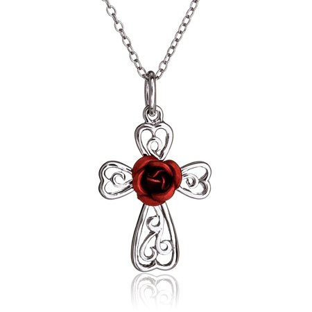SilverLuxe Womens Sterling Silver Filigree Cross Pendant with Red Rose Necklace 18