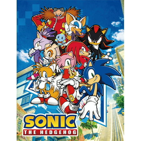 Great Eastern Entertainment Sonic the Hedgehog Big Group Sublimation Throw (Sonic The Hedgehog 2 Final Boss Music)