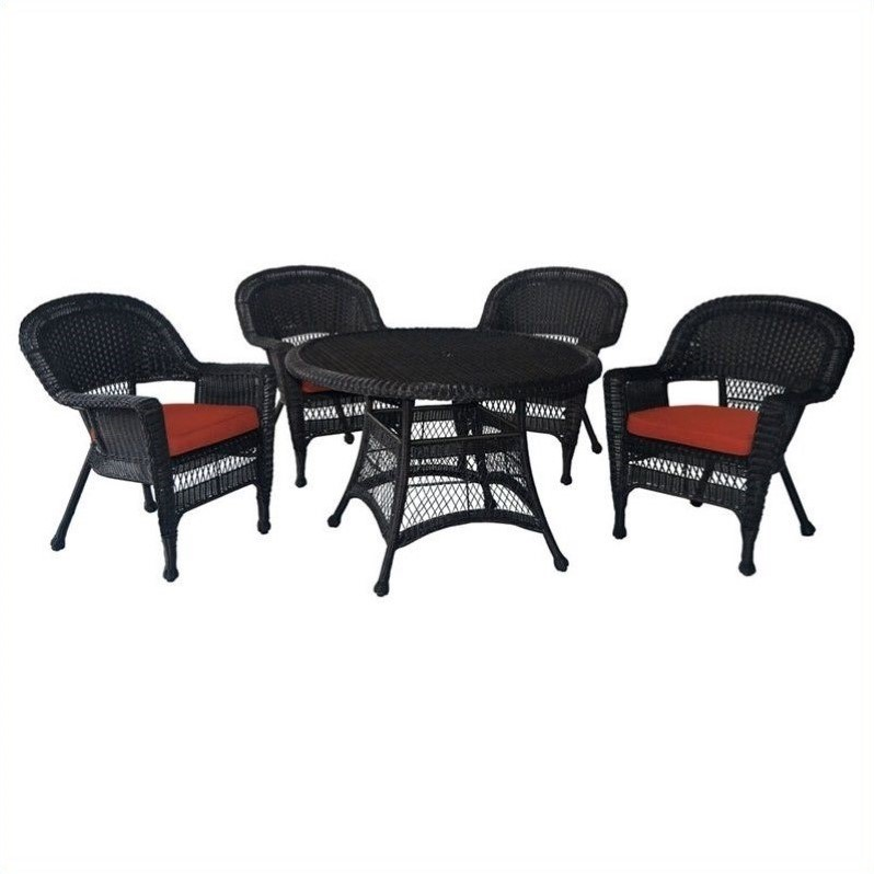 Jeco 5 Piece Wicker Patio Dining Set in Espresso and Red