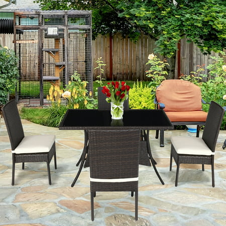Costway 5 Piece Outdoor Patio Furniture Rattan Dining Table Cushioned Chairs Set ()