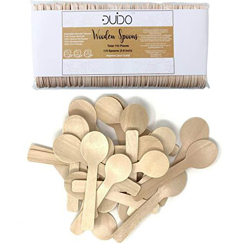 Disposable Small Wooden Mini Spoon – (Pack of 110) 3.9-inch Set Eco-Friendly Tasting Spoons Biodegradable Cutlery Compostable Dessert Utensils for Eating Party Supplies - Better Than Bam