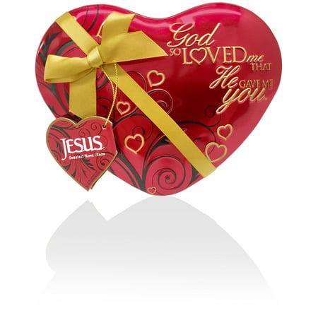 God So Loved Me Heart Tin - Large Large Heart Tin