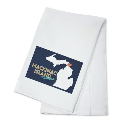 State Dish Towel - Mackinac Island, Michigan - Home State w/ Red Heart - Lantern Press Artwork (100% Cotton Kitchen Towel)