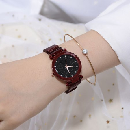 Women's Watch Fashion Prismatic Glass Scale Starry Sky Stainless Steel Bracelet Mesh Band Quartz Wrist Watch