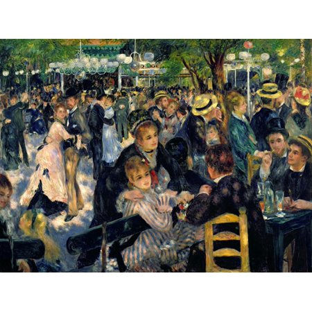 Ball at the Moulin De La Galette, 1876 painting of men and women Print Wall Art By Pierre-Auguste