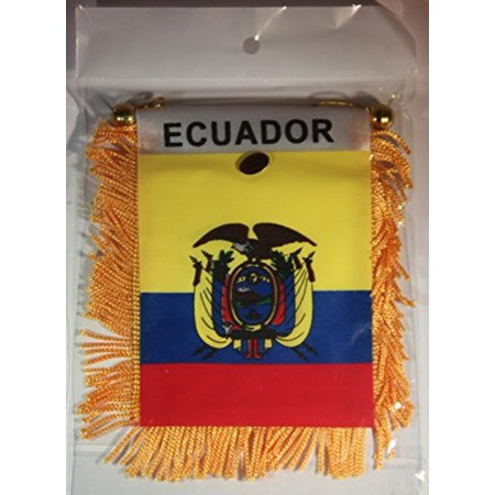"Ecuador Flag Rear View Mirror Mini Banner 4""x 5.5"", Convenient size and easy to install mini-banner auto flag By Souvenir Destiny,USA"