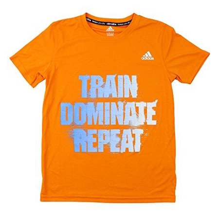 Adidas Youth Boys Short Sleeve Climalite Train Dominate Repeat Tee - Orange Adidas Climalite Short Sleeve Tee