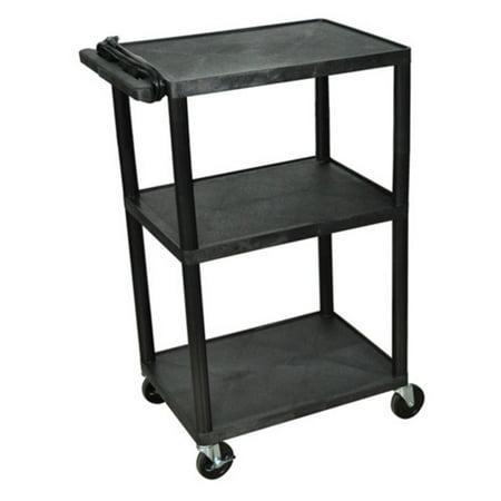 (Luxor 3-Shelf A/V Cart with Electric, Black)
