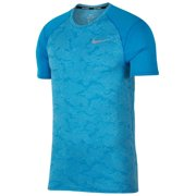 Nike Mens Dri-Fit Breathe Miler Running Shirt Blue New (L)