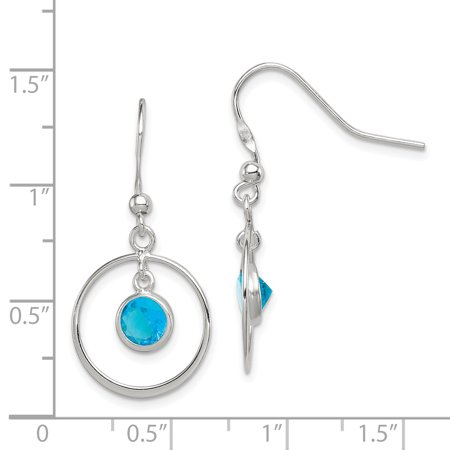 a5995d96b Sterling Silver Circle Dangle Blue CZ Earrings QE5147 - image 1 of 2 ...