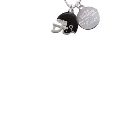Silvertone Small Black Football Helmet Real Heroes Don't Wear Capes They Teach Engraved Necklace - Small Football Helmets
