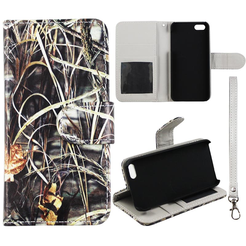 Camo Grass Wallet Folio Case for Iphone SE 5S 5 Fashion Flip PU Leather Cover Card Slots & Stand