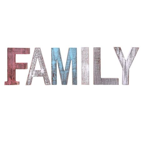 "Comfify ""Family"" Decorative Wooden Letters – Large Wood Letters for Wall Décor in Rustic Blue, White and Grey – Rustic Home Decoration for Living Room - Rustic Home Décor Accents – Farmhouse Decor"