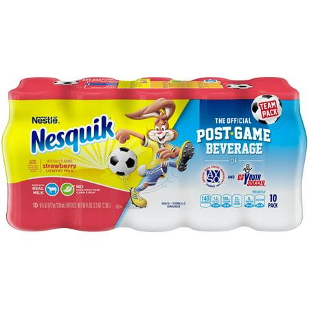 - Nestle Nesquik Low-Fat Strawberry Milk, 8 Fl. Oz., 10 Count