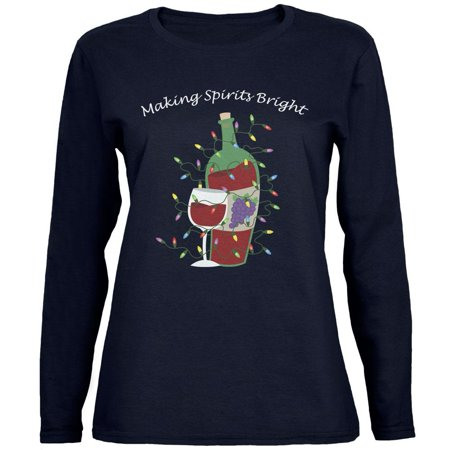 Christmas Making Spirits Bright Navy Womens Long Sleeve T-Shirt](Making Your Own T-shirts)