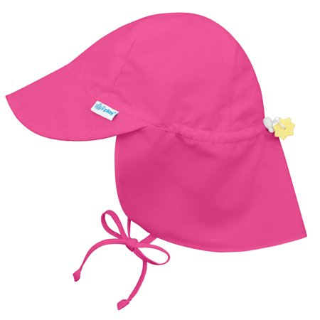 Iplay-Flap-Sun-Hat-for-Baby-Girls-Sun-Protection-Large-Billed-Hat-Solid-Hot-Pink-Infant-9-18-Months-Baby-Girl-Hat-Is-Adjustable-To-Fit-Outdoor-Ha
