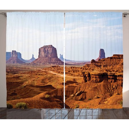 Desert Curtains 2 Panels Set, Monument Valley View from John Fords Point Merritt Butte Sandstone Image, Window Drapes for Living Room Bedroom, 108W X 108L Inches, Baby Blue Mauve Amber, by Ambesonne John Deere Curtain