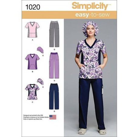 Simplicity Misses\' and Plus Size Scrubs, 20W-28W