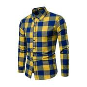 Eyicmarn Men Long Sleeve Shirt Button Up Business Work Plaid Formal Plain Dress Top