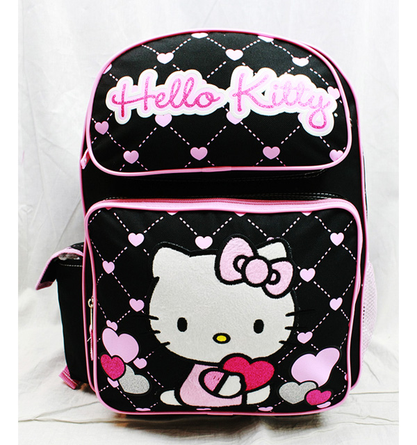 """Backpack Hello Kitty Glitter Heart Black School Bag 16"""" New Gifts Toys 83074 by FAB Starpoint"""