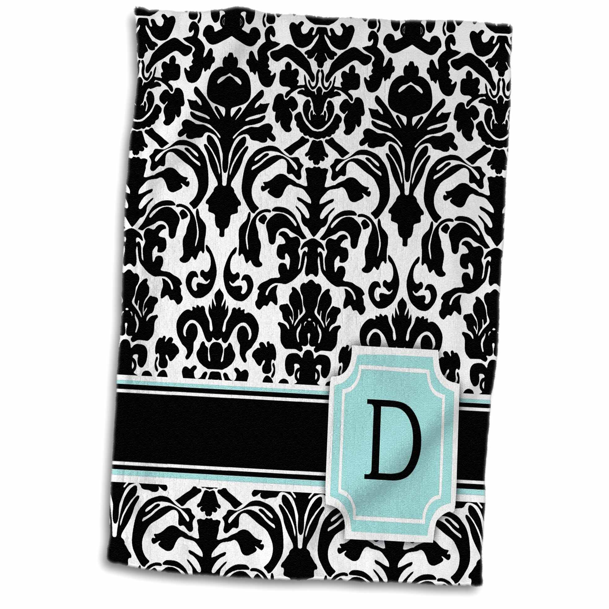 3dRose Letter D personal monogrammed mint blue black and white damask pattern - classy personalized initial - Towel, 15 by 22-inch