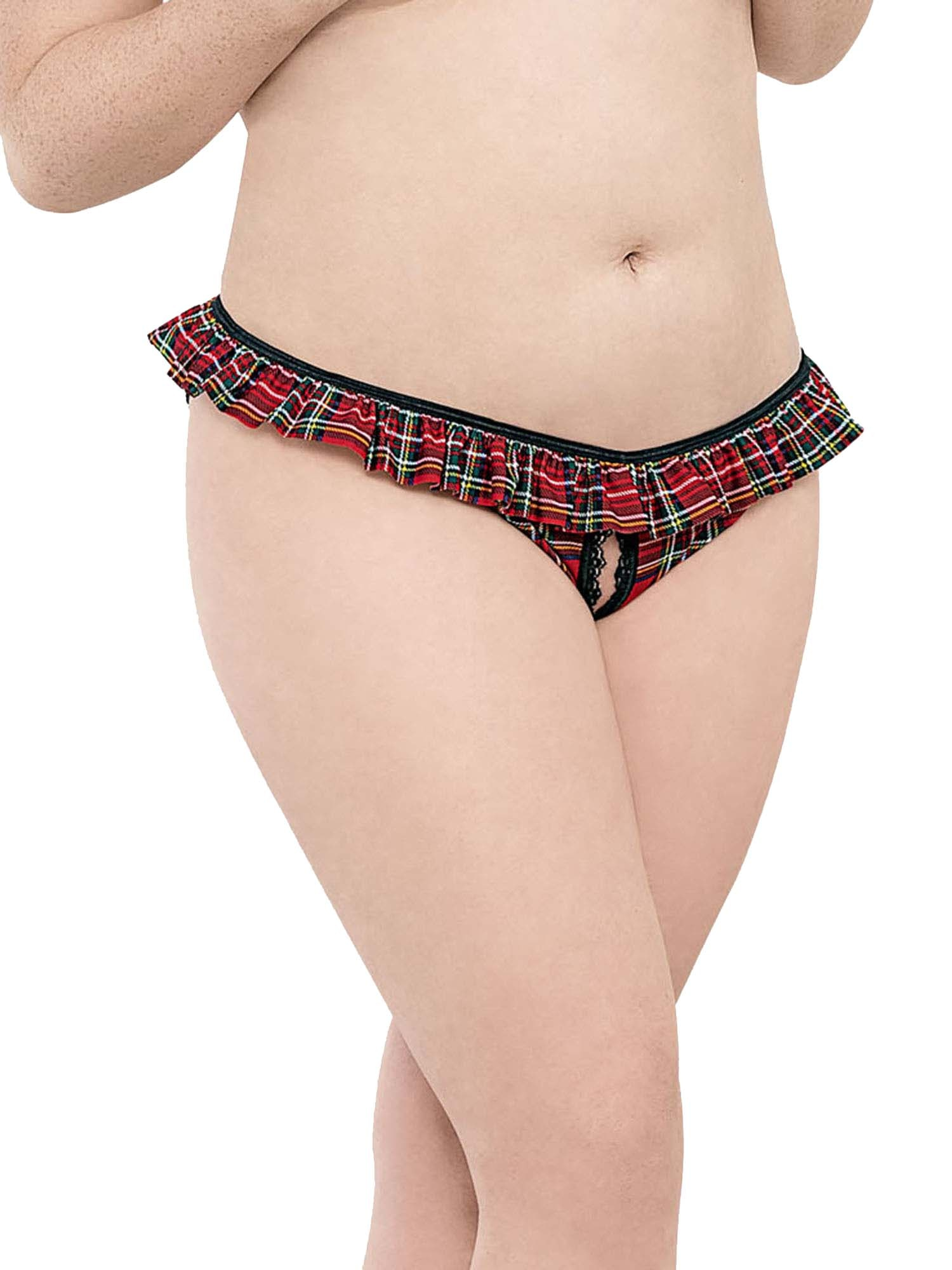 One Size Fits Most Womens Plus Size School/'s Out Plaid Panty