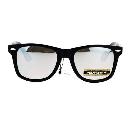 Mens Anti-glare Polarized Color Mirror Lens Horn Rim Hipster Sunglasses Shiny Black (Hipster Sunglasses Brands)