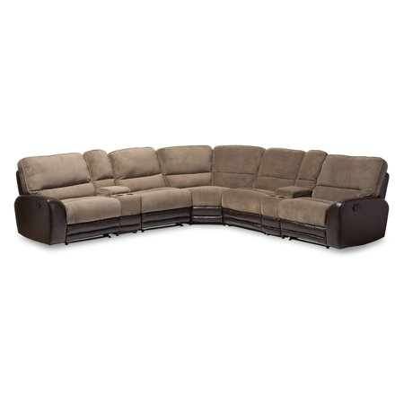Baxton Studio Richmond Modern and Contemporary Taupe Fabric and Brown Faux Leather Two-Tone Sectional Sofa