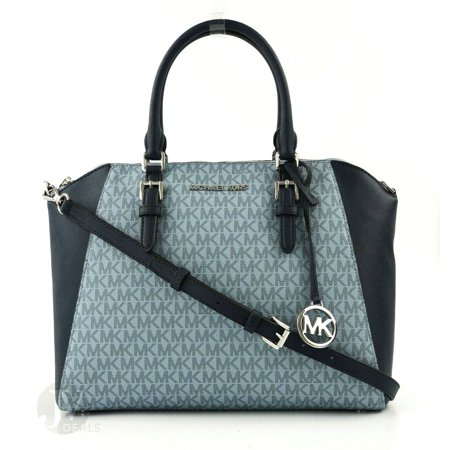 BRAND NEW WOMEN'S MICHAEL KORS CIARA LEATHER LARGE TOP ZIP SATCHEL HANDBAG (Pale Blue/Navy)