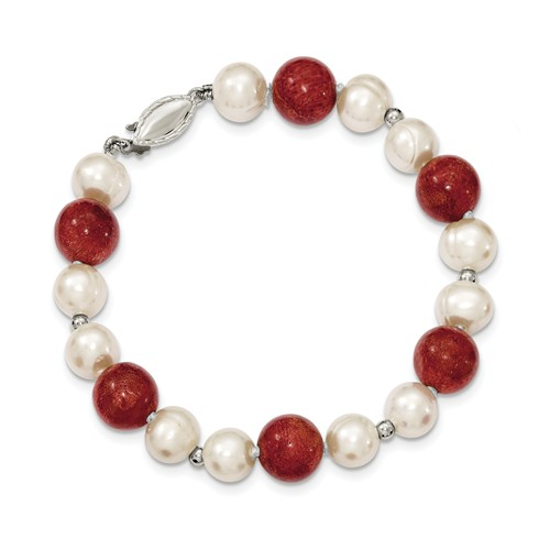 Sterling Silver 7.5in 2-Freshwater Cultured Pearls & Red Coral Bracelet. by Jewelrypot