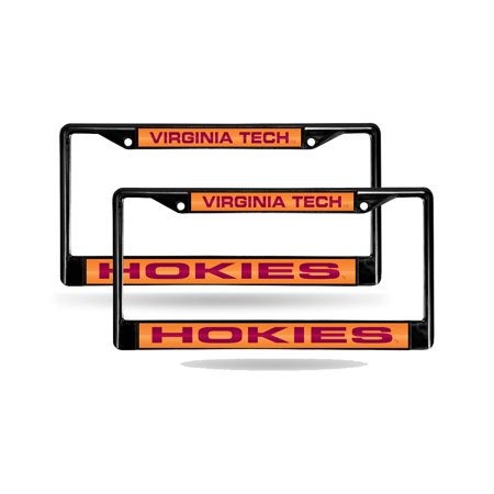Virginia Tech Hokies Metal - Virginia Tech Hokies NCAA Black Metal (2) Laser Cut License Plate Frame Set