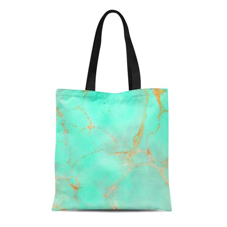 ASHLEIGH Canvas Tote Bag Green Golden Mint Gold Marble Abstract Aqua Teal Shiny Reusable Handbag Shoulder Grocery Shopping Bags