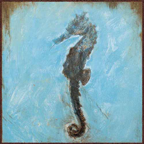 Seahorse Distressed Square Coastal Painting Tile Blue & Brown Canvas Art by Pied Piper Creative