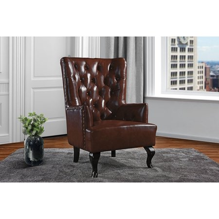 Upholstered Living Room Tufted Leather Armchair, Accent Chair with Nailheads (Dark Brown)