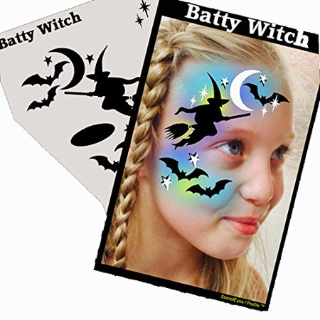 Halloween Face Painting Stencil - StencilEyes Profile Batty Witch, The original face painting stencils - Made in the USA By ShowOffs Body Art Ship from US