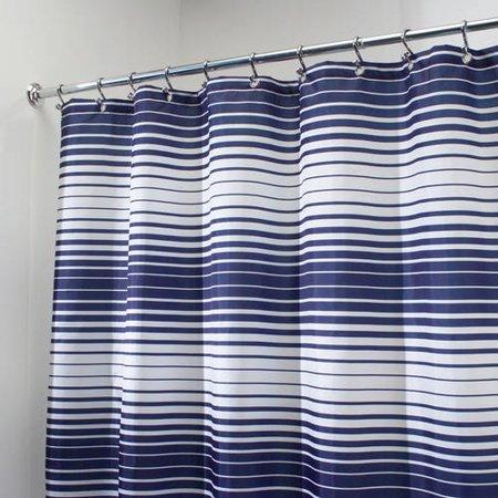 InterDesign Enzo Fabric Shower Curtain Standard 72 X Navy White