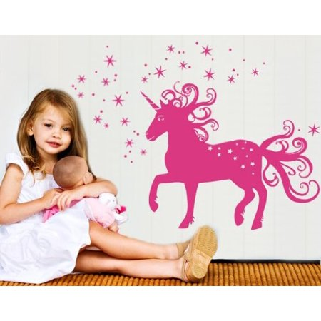 - Magical Unicorn Wall Decal - Wall Sticker, Vinyl Wall Art, Home Decor, Wall Mural - 2229 - 20in x 14in, White