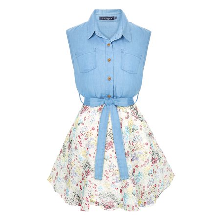 Unique Bargains Women's Printed Chiffon Panel Sleeveless Belted Denim Shirt Dress