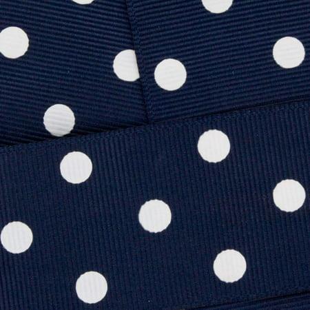 "1.5"" Grosgrain Ribbon White Dots 370 Navy 100 Yard HBC Brand"