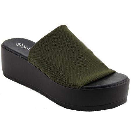 9dae0e0ffc76 NATURE BREEZE - NATURE BREEZE EL85 Women s Stretchy Slip On Peep Toe  Backless Platform Sandals - Walmart.com