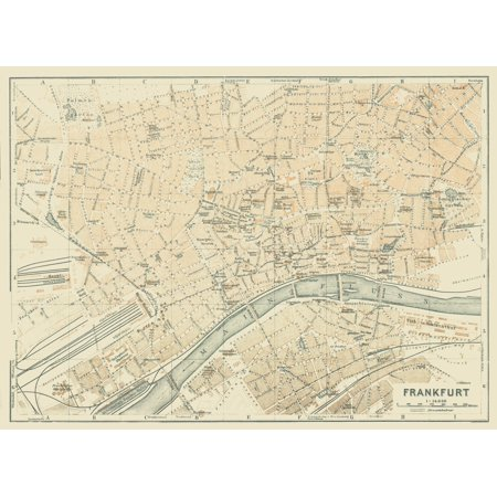 International Map Frankfurt Germany Baedeker 1914 31 40 X 23