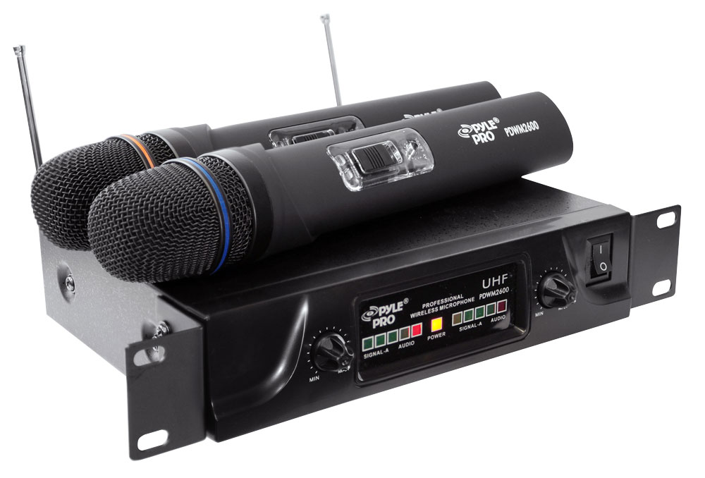 Pyle PDWM2600 Dual UHF Wireless Microphone System by Pyle