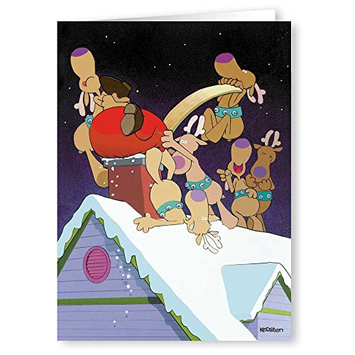 Stuck in Chimney Funny Christmas Cards - Humorous 18 Boxed Christmas Cards & Envelopes (Standard)