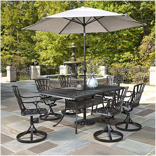 Home Styles Largo 7-Piece Dining Set with Umbrella, Charcoal