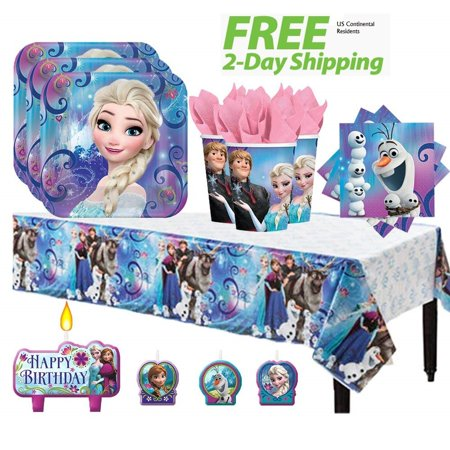 Frozen Birthday Party Pack for 16 with Plates, Napkins, Cups, Tablecover, and Candles - Shipped Fedex (Birthday Frozen)
