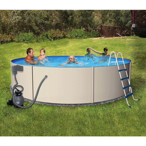 "Blue Wave Round 12' x 48"" Deep Rugged Steel Metal-Walled Swimming Pool"