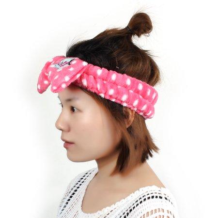 Women Shower Wash Face Makeup Caroset Bowknot Shape Soft Lovely Hair Band Headband Head Wrap Fuchsia - image 4 de 5