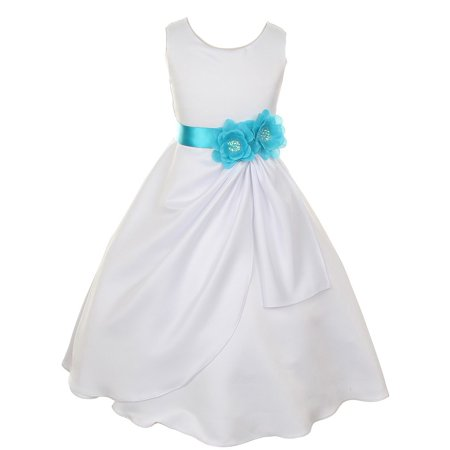 Big Girls White Turquoise Bridal Dull Satin Sequin Flowers Occasion Dress 12