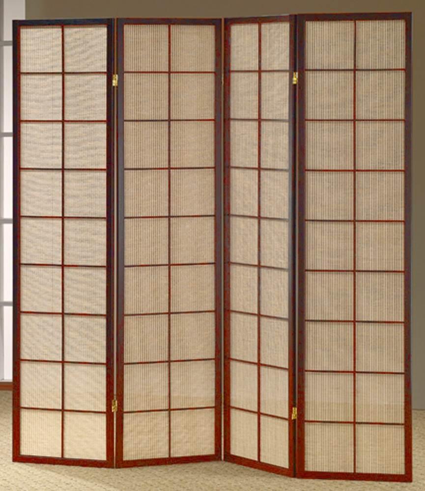 shoji room divider screen w cherry frame