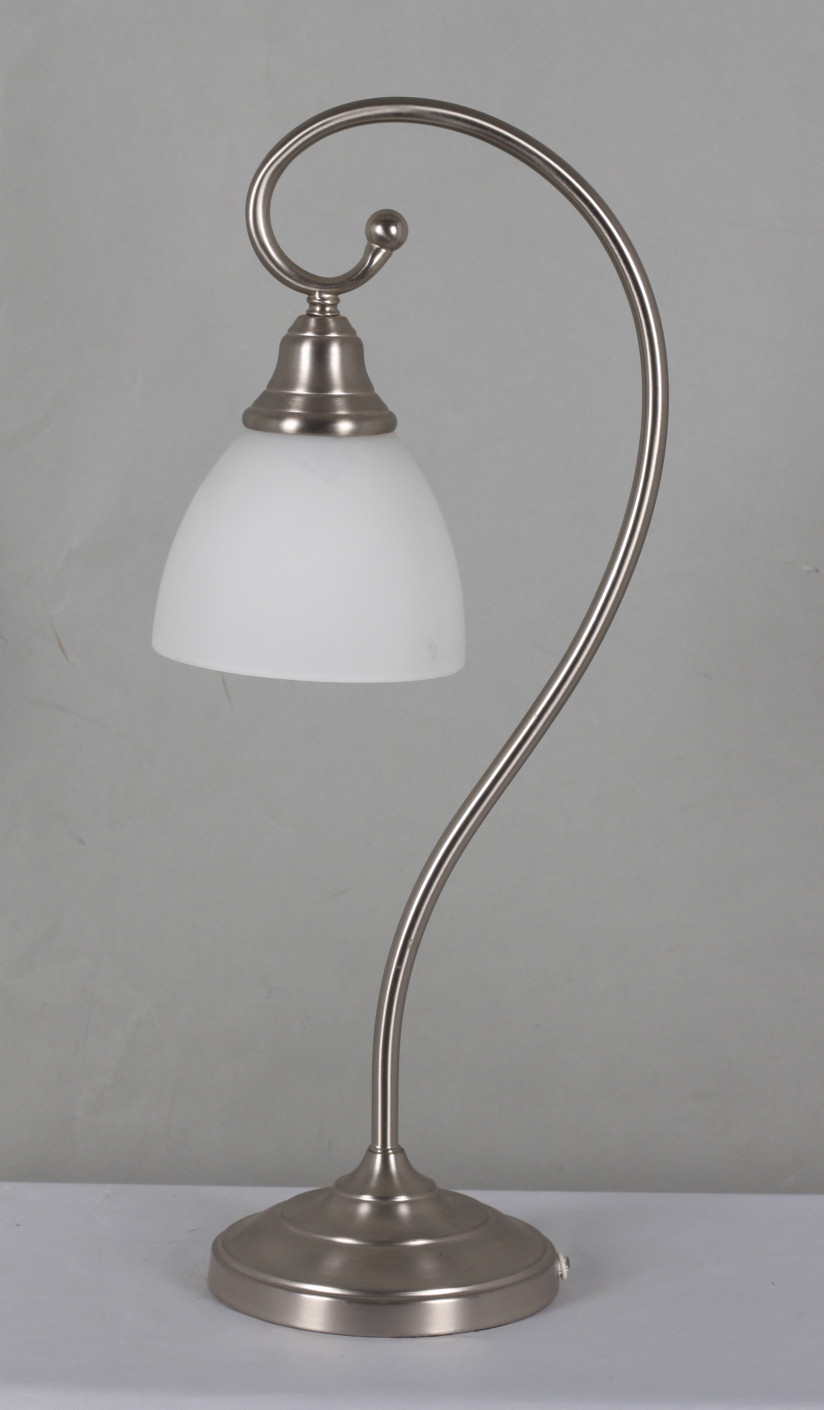 Home Source Harold Table Lamp With White Frosted Lamp Shade And Curved  Silver Base